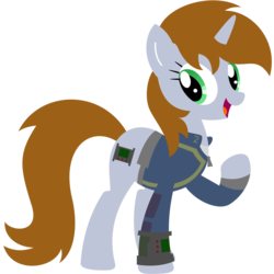Size: 4000x4000 | Tagged: artist:adjierakapangestu, clothes, commission, cutie mark, fallout equestria, fanfic, fanfic art, female, hooves, horn, lineless, mare, oc, oc:littlepip, oc only, open mouth, pipbuck, pony, safe, simple background, solo, transparent background, unicorn, vault suit