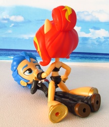 Size: 1500x1741 | Tagged: safe, artist:whatthehell!?, flash sentry, sunset shimmer, equestria girls, beach, clothes, doll, equestria girls minis, irl, merchandise, photo, ponied up, sandals, swimsuit, toy