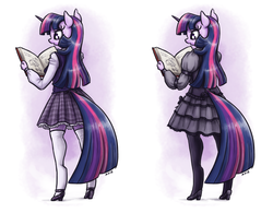 Size: 1408x1100 | Tagged: safe, artist:king-kakapo, twilight sparkle, unicorn, anthro, unguligrade anthro, adorkable, book, clothes, cute, dork, dress, female, gothic lolita, high heels, mare, pantyhose, plaid, plaid skirt, pleated skirt, reading, rear view, shirt, shoes, simple background, skirt, socks, solo, stockings, sweater vest, thigh highs, white background, zettai ryouiki