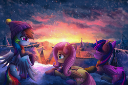 Size: 4961x3314 | Tagged: safe, artist:atlas-66, fluttershy, rainbow dash, twilight sparkle, alicorn, pony, clothes, commission, earmuffs, female, hat, mare, outdoors, ponyville, prone, scarf, scenery, scenery porn, smiling, snow, sunrise, sunset, trio, twilight sparkle (alicorn), wings, winter, winter outfit
