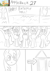 Size: 2480x3508 | Tagged: safe, artist:jbond, big macintosh, bon bon, carrot top, dj pon-3, golden harvest, lyra heartstrings, octavia melody, sweetie drops, vinyl scratch, comic:applebuck, birthday, comic, monochrome, raised hoof, shed, sketch, text