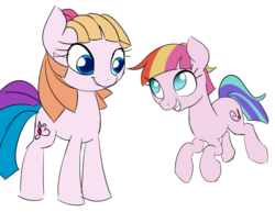 Size: 986x760   Tagged: safe, artist:wenni, derpibooru exclusive, toola roola, pony, 35th anniversary, duo, female, generational ponidox, looking at each other, mare, simple background, white background