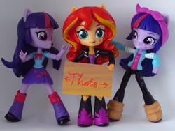 Size: 1198x900 | Tagged: anonymous editor, artist:whatthehell!?, doll, edit, edited edit, eqg minis sunset's sign, equestria girls, equestria girls minis, eqventures of the minis, safe, self ponidox, sign, sunset shimmer, thot, toy, twilight sparkle