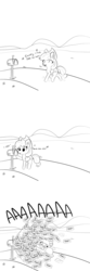 Size: 1280x3840 | Tagged: aaaaaaaaaa, applejack, artist:tjpones, black and white, comic, cute, dialogue, ear fluff, earth pony, female, grayscale, howdy, humming, jackabetes, lyrics, mail, mailbox, mare, monochrome, onomatopoeia, open mouth, pony, raised hoof, safe, screaming, simple background, singing, solo, song reference, take me home country roads, text, white background