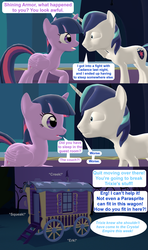 Size: 1920x3240 | Tagged: 3d, alicorn, artist:red4567, brother and sister, comic, female, male, mare, pony, safe, shining armor, source filmmaker, speech bubble, stallion, tired, trixie's wagon, twilight sparkle, twilight sparkle (alicorn), unicorn, wagon