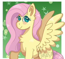 Size: 1650x1500 | Tagged: abstract background, artist:kukakimon, blushing, blush sticker, chest fluff, ear fluff, female, fluttershy, looking away, looking up, mare, pegasus, pony, safe, signature, smiling, solo, spread wings, wings