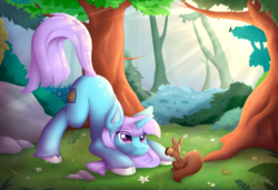Size: 1280x877 | Tagged: safe, artist:d-sixzey, oc, oc only, oc:lemon code, pony, squirrel, unicorn, animal, cloven hooves, crepuscular rays, cutie mark, ear fluff, eyelashes, face down ass up, female, forest, outdoors, solo, tree