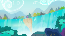 Size: 1440x809 | Tagged: alicorn, female, mare, pony, safe, scenery, screencap, solo, spread wings, twilight's kingdom, twilight sparkle, twilight sparkle (alicorn), waterfall, wings