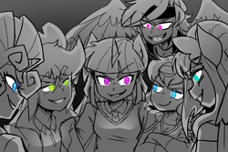 Size: 900x600 | Tagged: anthro, artist:thegreatrouge, clone, clone six, clothes, doppleganger, female, glowing eyes, grayscale, human facial structure, mean applejack, mean fluttershy, mean pinkie pie, mean rainbow dash, mean rarity, mean twilight sparkle, monochrome, neo noir, partial color, plotting, safe, the mean 6