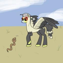 Size: 3000x3000 | Tagged: safe, artist:bojangleee, bird pone, secretary bird, snake, birb, desert
