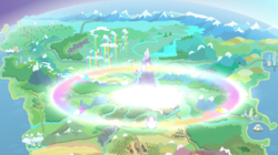 Size: 1440x808 | Tagged: canterlot, cloudsdale, equestria, everfree forest, farm, horseshoe bay, magic, mountain, mountain range, no pony, railroad, rainbow power, river, safe, screencap, ship, twilight's kingdom