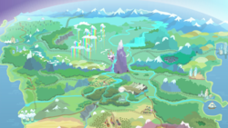 Size: 1437x808 | Tagged: canterlot, cloudsdale, equestria, everfree forest, farm, horseshoe bay, map of equestria, mountain, mountain range, no pony, ponyville, railroad, river, safe, screencap, ship, twilight's kingdom