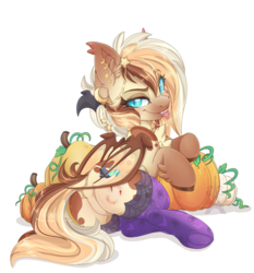 Size: 1600x1719 | Tagged: safe, artist:pvrii, oc, oc only, oc:heavenly hazelnut, bat pony, pony, bat ponified, bite mark, blood, clothes, cutie mark, ear piercing, female, folded wings, jewelry, looking at you, looking back, looking back at you, mare, necklace, nightmare night, piercing, pumpkin, race swap, raised eyebrow, simple background, smiling, solo, stockings, thigh highs, tongue out, tongue piercing, transparent background, wings