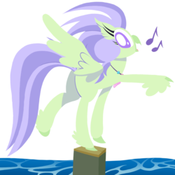 Size: 1000x1000 | Tagged: artist:dragonpone, background hippogriff, derpibooru exclusive, feathered fetlocks, female, hippogriff, jewelry, looking back, music notes, necklace, safe, simple background, smiling, solo, spoiler:s08e06, spread wings, surf and/or turf, transparent background, water, wings