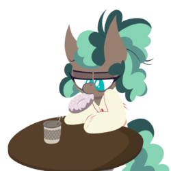 Size: 1000x1000 | Tagged: safe, artist:dragonpone, derpibooru exclusive, minty mocha, earth pony, pony, the parent map, bags under eyes, bathrobe, clothes, coffee, donut, female, food, freckles, lidded eyes, lineless, mare, mouth hold, robe, simple background, solo, steam, table, tired, transparent background