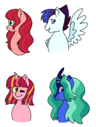 Size: 1372x1828 | Tagged: adoptable, artist:kukakimon, bust, dracony, earth pony, fangs, female, freckles, hybrid, interspecies offspring, male, mare, oc, oc only, offspring, one eye closed, parent:big macintosh, parent:flash sentry, parent:fluttershy, parent:rainbow dash, parent:rarity, parents:flashlight, parents:fluttermac, parent:soarin', parent:spike, parents:soarindash, parents:sparity, parent:twilight sparkle, pegasus, safe, simple background, spread wings, stallion, transparent background, unicorn, wings, wink