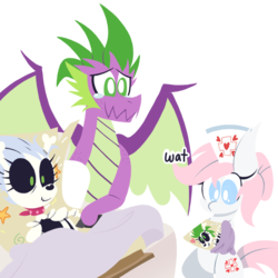 Size: 1000x1000 | Tagged: adult, adult spike, artist:dragonpone, baby, bed, bipedal, blanket, bone, boots, confused, crying, derpibooru exclusive, dialogue, dracony, dragon, dragon bones, ear fluff, earth pony, female, freckles, happy, hospital bed, hybrid, male, mare, neckerchief, newborn, nurse redheart, oc, offspring, older, older spike, parents:dragon bones, parent:skellinore, parent:spike, pony, safe, shipping, shoes, simple background, skeleton, skeleton pony, skellinore, smiling, spike, spoiler:s08e10, straight, swaddling, tears of joy, teary eyes, the break up breakdown, transparent background, wat, winged spike