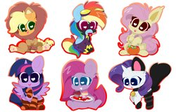 Size: 4096x2614   Tagged: safe, artist:kittyrosie, applejack, fluttershy, pinkie pie, rainbow dash, rarity, twilight sparkle, alicorn, bat pony, earth pony, pegasus, pony, unicorn, animal costume, applelion, candy, cat costume, clothes, collar, colored pupils, costume, cupcake, cute, dashabetes, female, flutterbat, food, goggles, halloween, head tilt, heart eyes, holiday, jackabetes, lollipop, looking at you, mane six, mare, mouth hold, open mouth, outline, paws, pinkamena diane pie, pumpkin, pumpkin bucket, race swap, shadowbolt dash, shadowbolts, shadowbolts costume, shyabates, shyabetes, simple background, sitting, smiling, socks, striped socks, twiabetes, twilight sparkle (alicorn), underpaw, wingding eyes