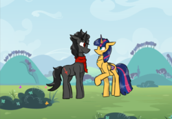 Size: 1206x840 | Tagged: alicorn, alicorn oc, artist:spraypaintpony, clothes, couple, female, husband and wife, male, married couple, oc, oc:aria, oc:baelfire, oc x oc, offspring, offspring shipping, parent:flash sentry, parent:king sombra, parent:oc:silver rain, parents:canon x oc, parents:flashlight, parent:twilight sparkle, pregnant, safe, scarf, shipping, straight, unicorn