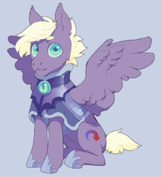 Size: 1375x1503 | Tagged: armor, artist:amphoera, night guard, oc, oc:gale force, oc only, pegasus, safe, sitting, solo, spread wings, wings