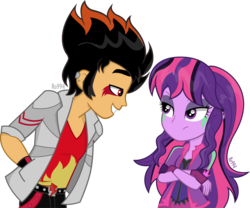 Size: 4956x4122 | Tagged: artist:ro994, casual attire, demon, equestria girls, evil, female, flashlight, flash sentry, male, midnight sparkle, oc, oc:fire pit, safe, sci-twi, shipping, sketch, straight, twilight sparkle, vector