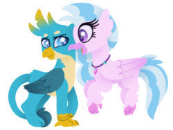 Size: 500x375 | Tagged: artist:spynda stan 2k18, classical hippogriff, cute, digital art, duo, female, gallstream, gallus, griffon, hippogriff, looking at each other, male, safe, shipping, silverstream, simple background, smiling, straight, white background