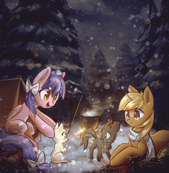 Size: 3125x3207   Tagged: safe, artist:mirroredsea, oc, oc only, cat, pegasus, pony, unicorn, campfire, commission, female, forest, male, mare, scenery, smiling, snow, snowfall, stallion, tent