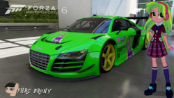 Size: 1439x809 | Tagged: safe, artist:forzaveteranenigma, lemon zest, fanfic:shadowbolts racing, equestria girls, friendship games, audi, audi r8, audi r8 lms, car, forza motorsport 6