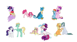 Size: 3905x2104 | Tagged: safe, artist:saphi-boo, apple bloom, applejack, cloudy quartz, fluttershy, gallus, pinkie pie, princess cadance, queen novo, rainbow dash, rarity, twilight sparkle, zephyr breeze, alicorn, earth pony, griffon, pegasus, pony, unicorn, soul bond au, my little pony: the movie, blushing, cadash, crack shipping, ephebophilia, female, infidelity, interspecies, lesbian, male, mare, shipping, simple background, stallion, straight, twibloom, twilight sparkle (alicorn), zephity