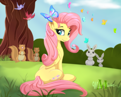 Size: 2000x1600 | Tagged: artist:wildviolet-m, beautiful, bird, butterfly, cloud, cute, female, fluttershy, folded wings, grass, looking at you, looking sideways, mare, outdoors, pegasus, pony, rabbit, safe, shyabetes, sitting, sky, solo, squirrel, three quarter view, tree, wings