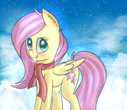 Size: 2987x2588 | Tagged: artist:brok-enwings, blushing, clothes, cute, female, fluttershy, folded wings, looking at you, looking sideways, mare, open mouth, pegasus, pony, safe, scarf, shyabetes, smiling, snow, snowfall, solo, standing, three quarter view, wings, winter