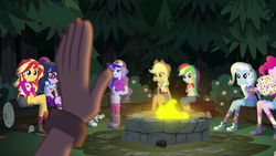 Size: 1280x720   Tagged: safe, screencap, applejack, pinkie pie, princess luna, rainbow dash, rarity, sci-twi, sunset shimmer, timber spruce, twilight sparkle, vice principal luna, equestria girls, legend of everfree, boots, camp everfree outfits, campfire, clothes, converse, female, food, forest, male, marshmallow, raised hand, shoes, shorts, sneakers, socks
