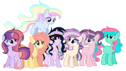 Size: 2720x1544 | Tagged: alicorn, alicorn oc, artist:thesmall-artist, base used, earth pony, female, magical lesbian spawn, magical polyamorous spawn, magical threesome spawn, mare, multiple parents, next generation, oc, oc:apple flower, oc:apple jay pie, oc:apple magic, oc:lightning color, oc:moon magic, oc only, oc:pink rose, oc:sunlight rainbow, offspring, parent:applejack, parent:big macintosh, parent:braeburn, parent:fluttershy, parent:pinkie pie, parent:princess celestia, parent:rainbow dash, parent:rarity, parents:braepiescratch, parents:dashlestia, parents:fluttermac, parents:glimmerjack, parent:starlight glimmer, parents:trenderity, parents:twidash, parent:trenderhoof, parent:twilight sparkle, parent:vinyl scratch, pegasus, pony, safe, simple background, transparent background, unicorn