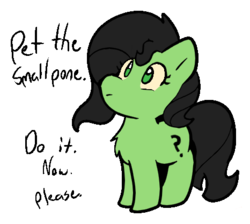 Size: 466x417 | Tagged: safe, artist:zutcha, edit, oc, oc only, oc:filly anon, earth pony, pony, bronybait, chest fluff, cute, do it now, female, filly, looking at you, looking up, no pupils, ocbetes, outline, pet request, pone, simple background, smol, solo, text, touch the cow, transparent background, wide eyes