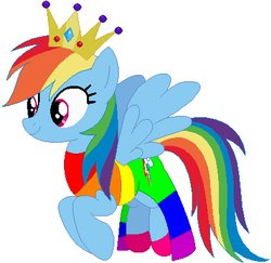 Size: 415x404 | Tagged: safe, artist:selenaede, artist:user15432, rainbow dash, pegasus, pony, base used, clothes, costume, crown, dress, female, halloween, halloween costume, hasbro, hasbro studios, holiday, jewelry, princess, princess costume, princess rainbow dash, rainbow, rainbow dress, rainbow princess, regalia, shoes, simple background, solo, white background