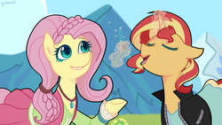 Size: 1280x720 | Tagged: alicorn, artist:gintoki23, clothes, dandelion, dress, duo, equestria girls, equestria girls ponified, fluttershy, friendship through the ages, grass, levitation, magic, mountain, ponified, pony, safe, scene interpretation, sunset shimmer, telekinesis