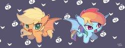 Size: 1346x522 | Tagged: safe, artist:dusty-munji, applejack, rainbow dash, bat pony, pony, bat ponified, cute, dashabetes, female, hnnng, jackabetes, mare, race swap, smiling