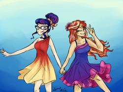 Size: 2000x1500 | Tagged: safe, artist:elisdoominika, sci-twi, sunset shimmer, twilight sparkle, equestria girls, alternate costumes, alternate hairstyle, costume swap, female, holding hands, human coloration, lesbian, one eye closed, scitwishimmer, shipping, smiling, sunsetsparkle, victory sign, wink