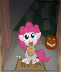 Size: 2643x3109 | Tagged: artist:davinciwolf, clothes, costume, earth pony, female, halloween, holiday, jack-o-lantern, mummy, nightmare night, pinkie pie, pony, pumpkin, safe, solo, trick or treat