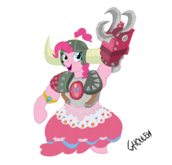 Size: 2700x2600 | Tagged: safe, artist:ghouleh, pinkie pie, ork, buff, clothes, crossover, dress, element of laughter, female, helmet, honorary yak horns, horned helmet, inktober, muscles, power klaw, shoulder pads, simple background, smiling, solo, topknot, transparent background, viking helmet, warboss, warhammer (game), warhammer 40k