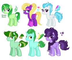 Size: 3456x2880 | Tagged: artist:thecheeseburger, banana, braces, clothes, cloud, cloudy, cute, cutie mark, earth pony, female, food, green hair, group, male, mare, oc, oc:green bean, pegasus, safe, scarf, simple background, smiling, stallion, stars, transparent background, unicorn