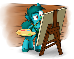 Size: 1280x1024   Tagged: safe, artist:sugar morning, oc, oc only, oc:doodle mark, earth pony, pony, apron, brush, canvas, clothes, commission, easel, female, mare, mouth hold, paint, painting, palette, simple background, solo, tomboy, unshorn fetlocks, wall