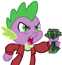 Size: 3820x4000 | Tagged: safe, artist:koeper, artist:madmax, spike, dragon, futurama, image macro, male, meme, parody, shut up and take my money, simple background, solo, text, transparent background, vector