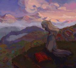 Size: 1910x1698   Tagged: safe, artist:malinetourmaline, earth pony, pony, art trade, female, looking away, mare, mountain, scenery, solo