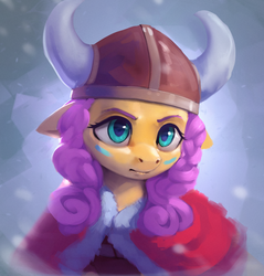 Size: 1100x1153 | Tagged: abstract background, alternate hairstyle, artist:rodrigues404, bust, clothes, coat, face paint, female, floppy ears, fluttershy, helmet, horned helmet, mare, pony, portrait, safe, solo, viking, viking helmet