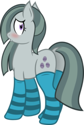 Size: 3020x4500 | Tagged: safe, artist:brianblackberry, artist:slb94, marble pie, blushing, butt, clothes, cute, female, marblebetes, marblebutt, plot, simple background, sock fetish, socks, solo, striped socks, transparent background, vector