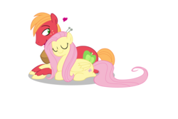 Size: 1936x1296 | Tagged: safe, artist:egophiliac, color edit, edit, big macintosh, fluttershy, colored, colored pupils, eyes closed, female, floating heart, fluttermac, heart, male, mare, ponyloaf, prone, shipping, simple background, stallion, straight, white background
