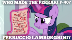 Size: 719x404 | Tagged: alicorn, artist:forzaveteranenigma, cozy gets a test wrong, edit, edited screencap, female, ferrari, lamborghini, mad, mare, marks for effort, meme, pony, safe, screencap, solo, spoiler:s08e12, test, twilight sparkle, twilight sparkle (alicorn)