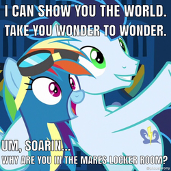 Size: 1200x1200 | Tagged: safe, edit, edited screencap, screencap, rainbow dash, soarin', grannies gone wild, aladdin, animation error, cropped, female, locker room, male, meme, shipping, soarindash, straight, wonderbolts