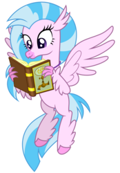 Size: 5707x8192   Tagged: safe, artist:thatguy1945, silverstream, classical hippogriff, hippogriff, what lies beneath, absurd resolution, book, cute, diastreamies, female, happy, reading, simple background, solo, that hippogriff sure does love indoor plumbing, transparent background, vector